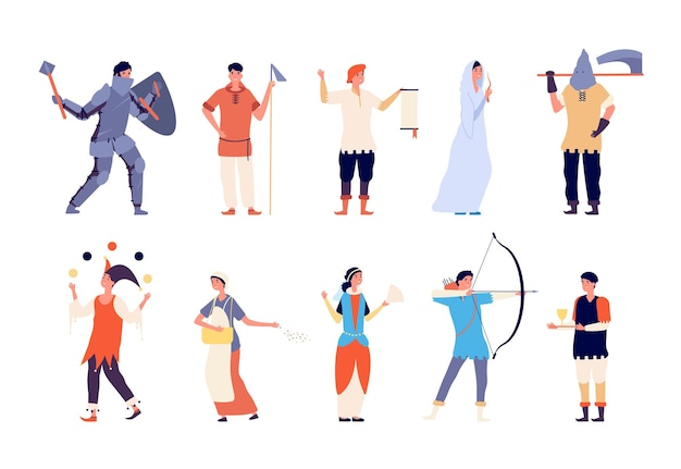 Sprookjesfiguren. fee en ridder, hofdame en beul, boogschutter en koning, krijger en joker middeleeuwse cartoon vector set. illustratie historisch karakter sprookje, majesteit en ridder