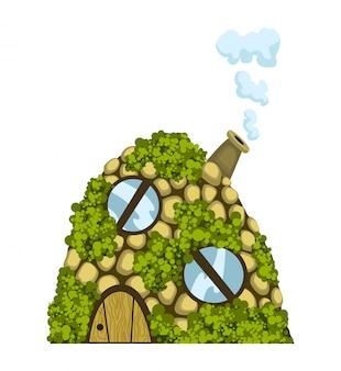 Sprookjeshuis. fantasy dugout house. kinderen sprookjesachtige speelhuis geïsoleerd