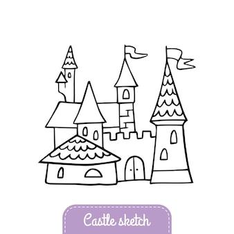 Sprookjeskasteel in doodle-stijl