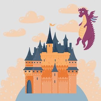 Sprookjeslandschap met een kasteel en vliegende draak. fantasie paleis toren.