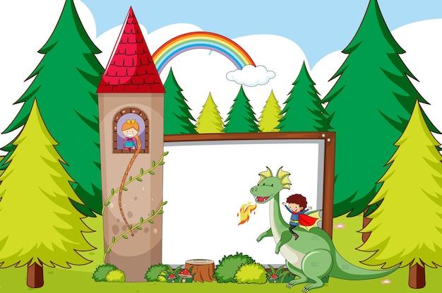 Sprookjessjabloon met bos en lege banner