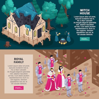 Sprookjeswebsite 2 isometrische horizontale webbanners met magisch heksenhuis en koninklijke familie