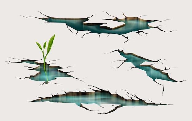 Spruit groeit door grondbarst met water binnen, aardbevingskrakende gaten, verwoeste landoppervlakte verpletterde textuur.