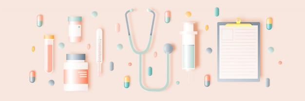 Spuit en medicijnen in pastelkleur