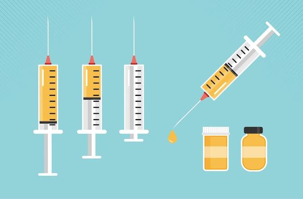 Spuit voor injectie met gele vaccinflacon met medicijn en medicijnfles