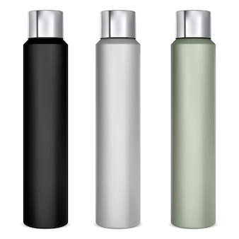 Spuitbus mockup aluminium deodorant blik haarlak fles blanco