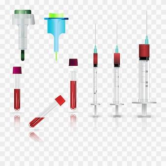 Spuiten, injectieflacons en lancetten. realistische vectorillustraties.