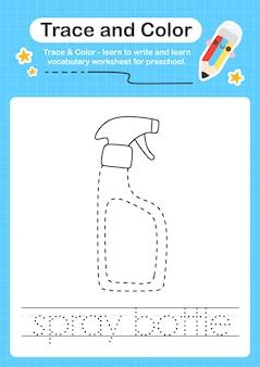 Spuitfles-trace en kleuterschool-werkbladtracering voor kinderen om de fijne motoriek te oefenen