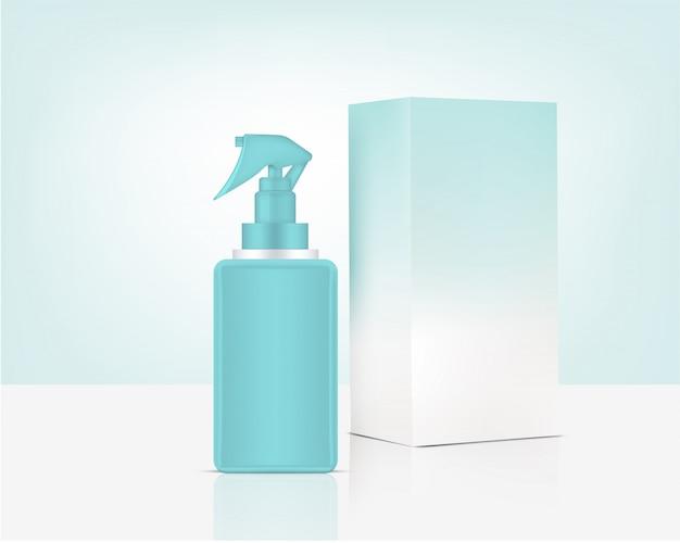 Spuitflessenpomp mock up realistisch organisch cosmetica en doos voor huidverzorgingsproduct