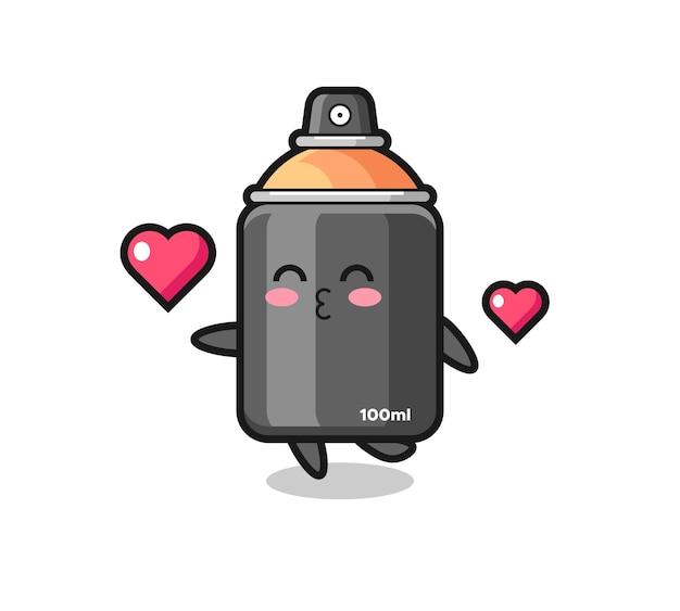 Spuitverf karakter cartoon met kussend gebaar, schattig stijlontwerp voor t-shirt, sticker, logo-element