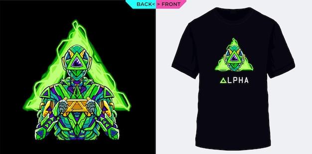Squad game alpha als een game-aanvaller met een groen robotkostuum dat geschikt is voor kleding met gamethema