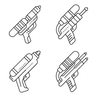 Squirt pistool pictogrammen instellen. overzichtsreeks squirt gun vector iconen