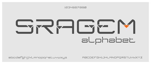 Sragem, modern creatief alfabet met sjabloon voor stedelijke stijl