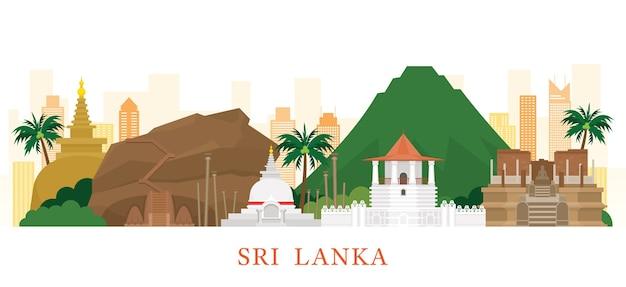 Sri lanka skyline oriëntatiepunten Premium Vector