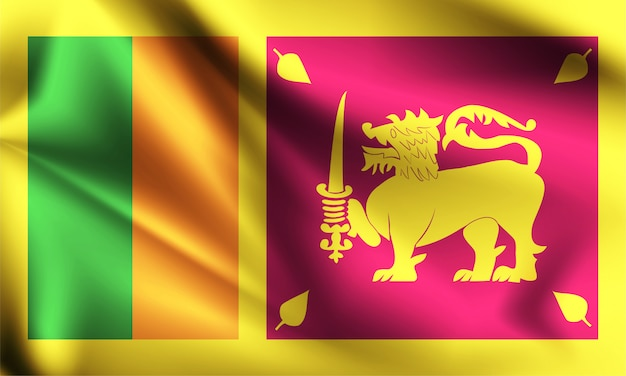 Sri lanka vlag waait in de wind.