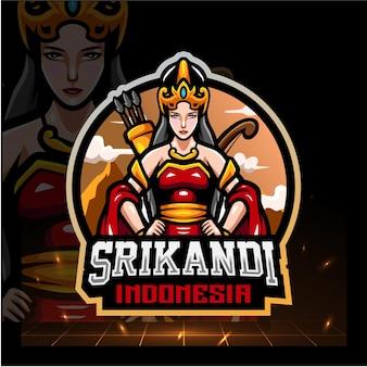Srikandi van indonesië mascotte esport logo ontwerp