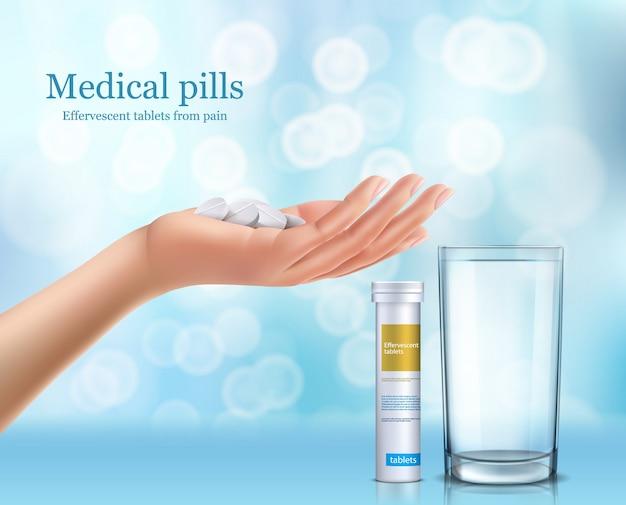 Sround tabletten in een glas water, cilindrische container en menselijke hand.