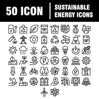Ss-sjabloon uploaden eenvoudige set eco-gerelateerde lijnpictogrammen. bevat pictogrammen zoals elektrische auto's, opwarming van de aarde, bos, biologische landbouw en meer. beroerte.