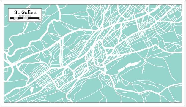 St. gallen zwitserland stadsplattegrond in retro stijl. overzicht kaart. vectorillustratie.