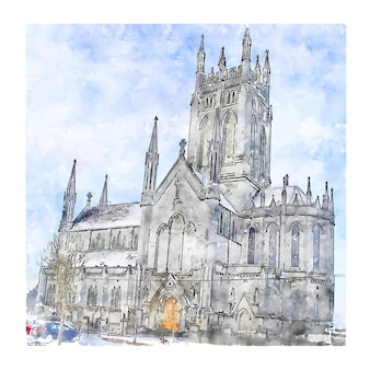 St mary's cathedral killarney ierland aquarel schets hand getrokken illustratie