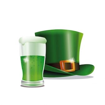St patrick dag groene hoed glas bier partij