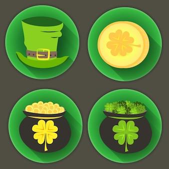 St patrick dag vier pictogrammen. vector illustratie