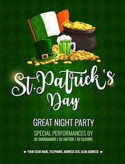 St. patrick day cartoon poster met hoge hoed