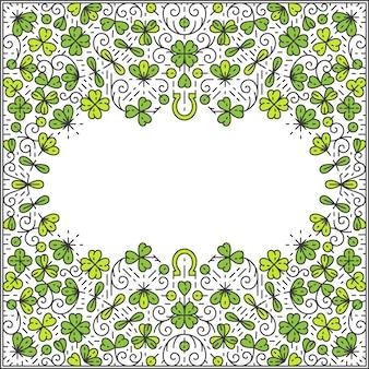 St patrick day-frame, decoratieve lijnachtergrond, monoline-stijl.