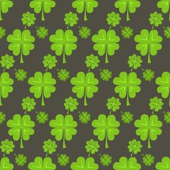 St patrick day groene klaver naadloze patroon. vector illustratie
