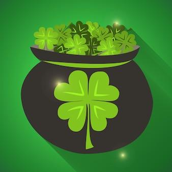 St patrick day groene klavertjes icoon. vector illustratie