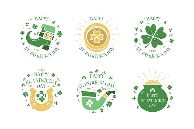 St. patrick's dag badge hand getrokken ontwerp