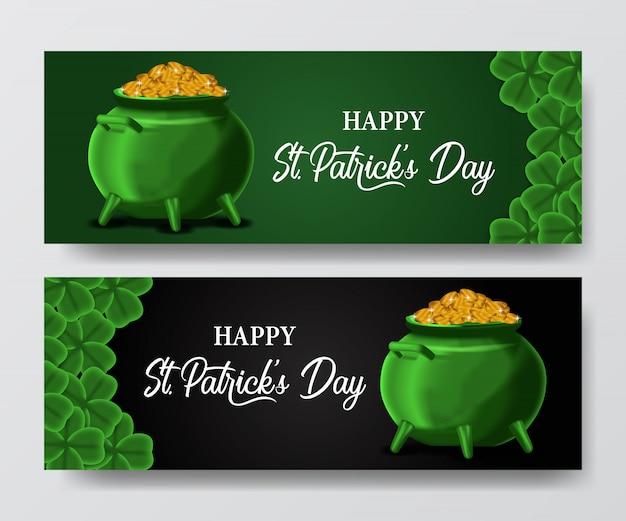 St. patrick's dag banner met pot en gouden munten
