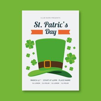 St. patrick's dag poster sjabloon in plat ontwerp