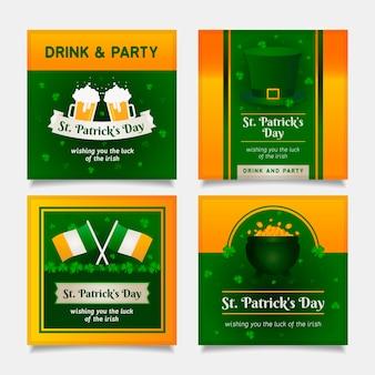 St. patrick's dag sociale media plaatsen met bier en vlaggen