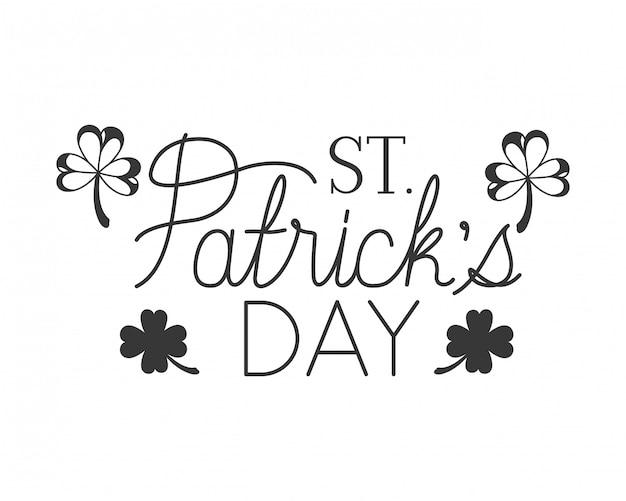 St patrick `s dagetiket met klaver geïsoleerd pictogram