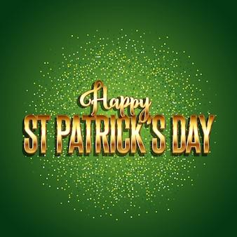 St patrick's day achtergrond met gouden tekst