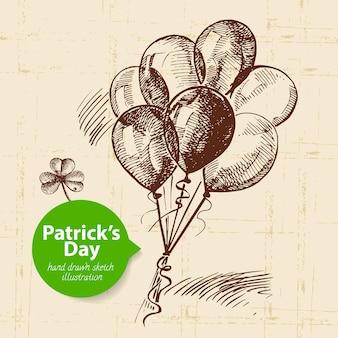 St. patrick's day-achtergrond met hand getrokken schetsillustratie en bellenbanner