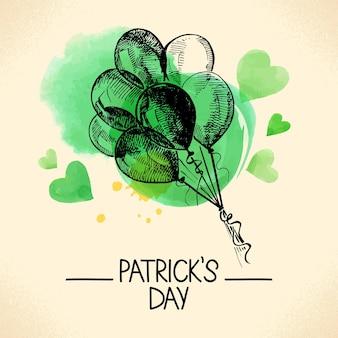 St. patrick's day-achtergrond met handgetekende schets en aquarelillustraties