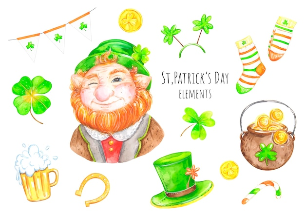 St. patrick's day aquarel set
