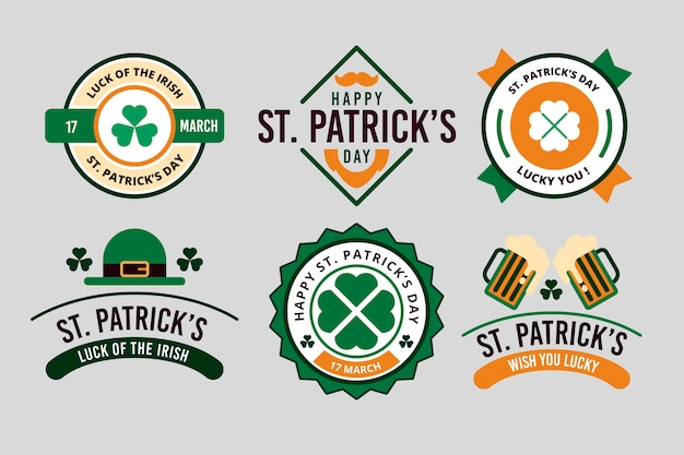 St. patrick's day badge-collectie in plat ontwerp