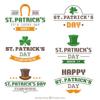 St patrick's day badges met oranje en groene gegevens