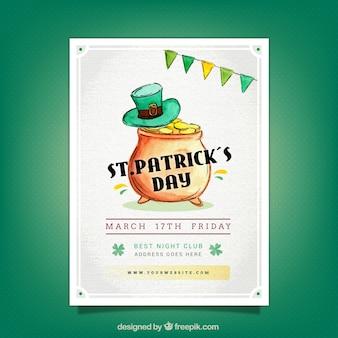 St patrick's day brochure sjabloon in aquarel stijl
