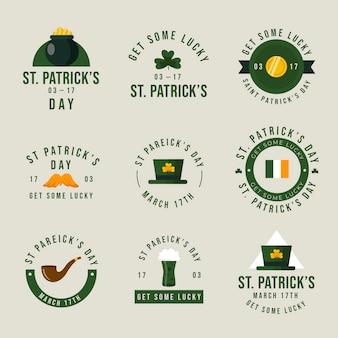 St. patrick's day circulaire vintage etiketten en insignes