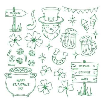 St. patrick's day doodle element collectie