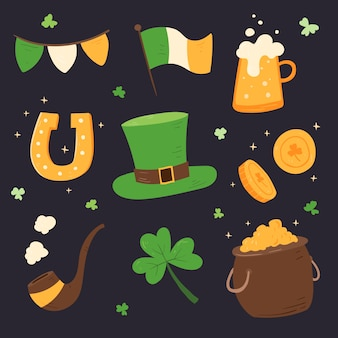 St. patrick's day element collectie hand getrokken