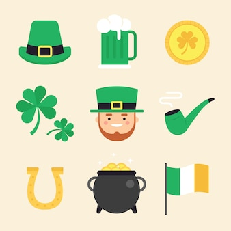 St. patrick's day element collectie plat ontwerp