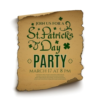 St. patrick's day-feest. uitnodiging sjabloon. kalligrafisch lettertype op oude rol die op witte achtergrond wordt geïsoleerd.