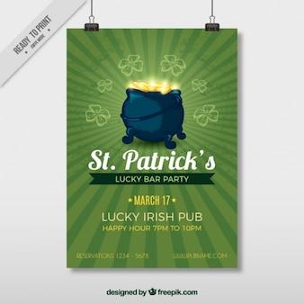 St patrick's day flyer met ketel vol munten