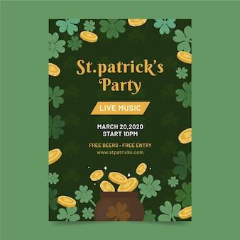 St. patrick's day flyer sjabloon hand getrokken