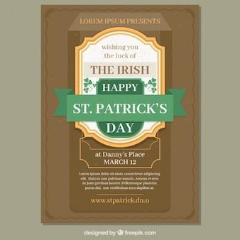 St patrick's day flyer sjabloon in vintage stijl